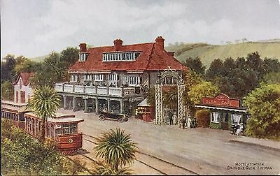 Hotel and Station Groudle Glen Isle of Man Postcard Trams .