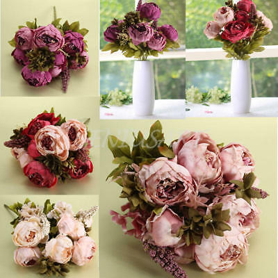 Artificial Fake Peony Flower Bridal Hydrangea Home Wedding Party Decor Pink