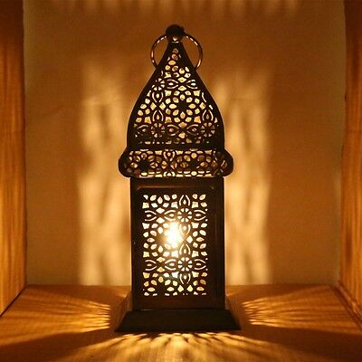 Moroccan Style Lantern - Intricate Fretwork Pattern Hanging Candle Decor