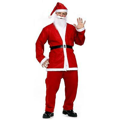Men's Santa Claus Costume Father Christmas Fancy Dress Budget Outfit Suit Adult