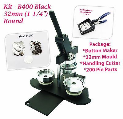 "32mm(1 1/4"") Button Maker-N3+Mould+ 200pinParts+Handling Cutter"
