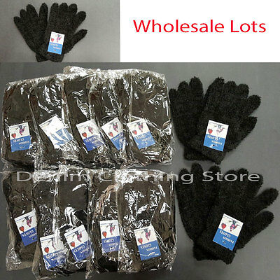 12 Pairs Men Women Fuzzy Cozy Black Winter Warmer Knitted Gloves Wholesale Lot