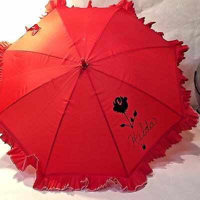 Vtg Red Nylon Umbrella Parasol Personalized HILDA w Ruffle Plastic Handle Taiwan