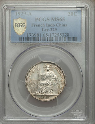 1929-A French Indo-China 20 Cents PCGS MS 65 None Finer @ NGC Cochin Vietnam