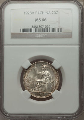1928-A French Indo-China 20 Cents NGC MS 66 Cochin Vietnam None Finer @ NGC