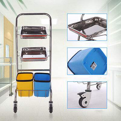 High Quality Serving Medical Dental Surgery Cart Trolley With Tray And Bucket