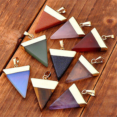 New Natural Gemstones Triangle Pointed Reiki Chakra Healing Gold Necklace Bead