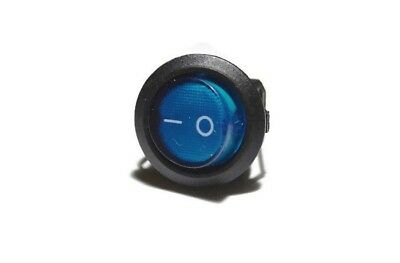 """1"""" Blue Illuminated Round Rocker Switch SPDT ON-OFF 3-Pin Snap-in"""