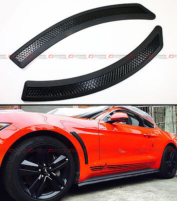 Black Mesh Polyurethane Front Fender Side Vent Cover For 2015-2016 Ford Mustang