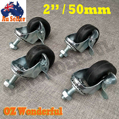 "4pcsX2""(50mm)Heavy Duty SWIVEL CASTORS WHEEL Brakes Castor Caster M10x25Bolt&Nut"