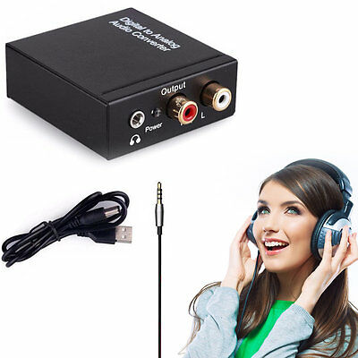 Digital Coaxial Toslink Optical to Analog L/R RCA Audio Converter Adapter GT