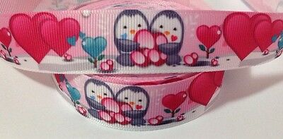 Grosgrain ribbon 1 mtr - animal penguin love