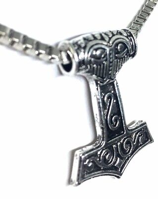 Viking Thor Hammer Pendant Nordic Style on Metal Link Chain, Fast shipping.