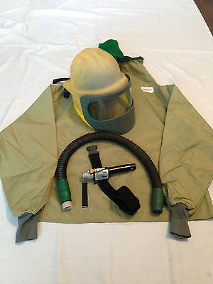 Bullard Blasting Helmet, Respirator, Cape And Cool Climate Control Tube