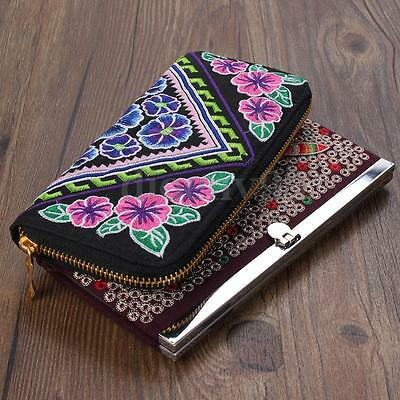 Women Ethnic Embroider Wallet Card Cash Holder Phone Clip Zip Purse Clutch Bag