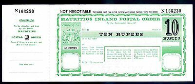 Mauritius Postal Order. Ten Rupees. Poundage surcharged 50 cents, unused.