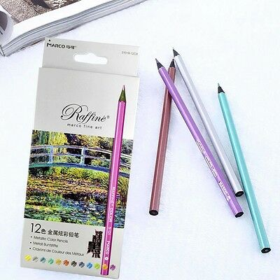 Pro 12pcs Metallic Colored Drawing Sketching Pencils 12 Colors Office Students