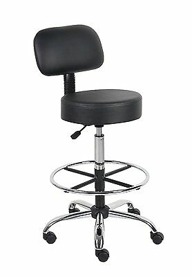 Medical Drafting Stool Back Cushion Adjustable Chair Office Boss Footring Wheels