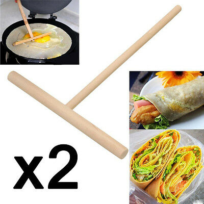 2x Wooden Rake Round Batter Pancake Crepe Spreader Kitchen Tools DIY 15cm