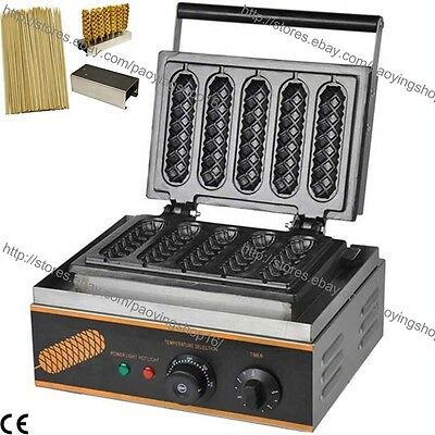 Commercial Nonstick Electric French Hot Dog Waffle Stick Baker w/ Holder & Stick