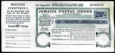 Jamaica, 20 Shillings postal order, Six Pence Poundage, with counterfoil.