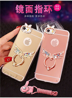 Luxury Cute Chrome Mirror Bling Diamond Case Cover with Metal Ring Holder Stand