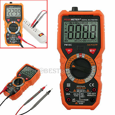 PM18C AC DC Current Tester Temperature Multimeter with LCD Backlight non-contact