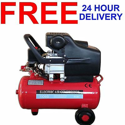 New 24 Litre Twin Outlet 2Hp 2850 Rpm 115 Psi 8 Bar Electric Air Tool Compressor