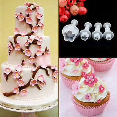Flower 4pcs Cake Cupcake Decorating Fondant Icing Plunger Cutters Tools