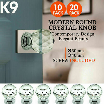 30mm 40mm Clear Crystal Glass Door Pull Knobs Knob Drawer Handle Cabinet +Screw
