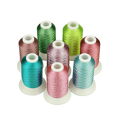 SIMTHREAD Metallic Embroidery Machine Thread 8 Colors, 550Y, for Brother Machine