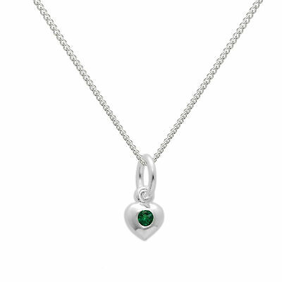 Real 925 Sterling Silver & Emerald CZ Crystal May Birthstone Heart Necklace
