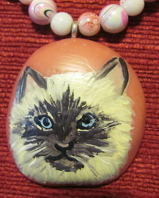 Cat - Ragdoll - hand painted on somewhat round pink Tagua Nut pendant/bead/neckl