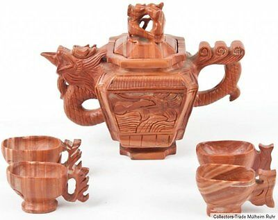 China 20. Jh. Teekanne Jaspis - A Chinese Red Jasper Tea Set - Chinois Cinese