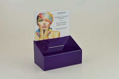 Suggestion / Collection Box with A5 Landscape Poster Holder - PDS9474 Purple A5L