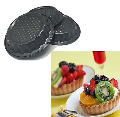 2 x 3pcs Mini Non Stick Pastry Tart Fluted Mould Tray Birthday Wedding Dessert