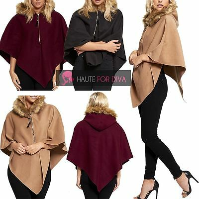 New Women'S Wrap Wool Cape Hooded Faux Fur Lined Zip Poncho One Size Uk 8-14