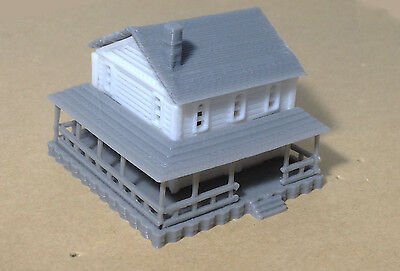 Outland Models Train Railway Layout Country 2-Story House White Z Gauge 1:220
