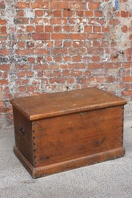 Old Rustic Full Of Character Large Wooden Pine Storage Chest - Trunk / Box