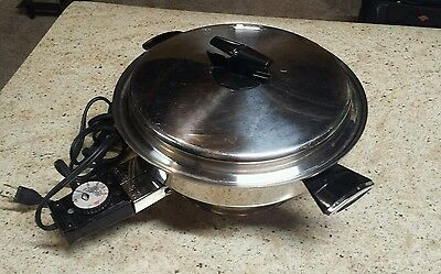 "Vollrath #24  11"" Liquid Core Electric Skillet Frying Pan w/Lid EUC"