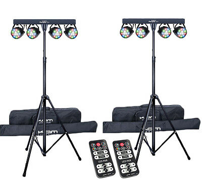 2X Kam PartyBar Eco LED Lighting System inc Stand, Remote and Bag Disco DJ Party