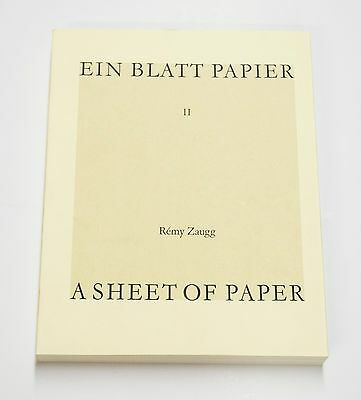 Remy Zaugg: A Sheet of Paper II, 1992.  Illustrated, Artist Book.