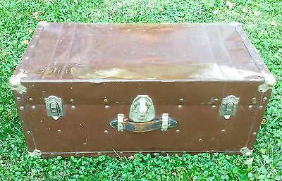 Antique Metal Steamer Trunk Steampunk Foot Locker Vintage Travel Chest Brown KD