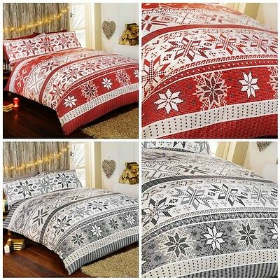 Stockholm 100% Brushed Cotton Grey or Red Duvet Cover and Pillowcase Set