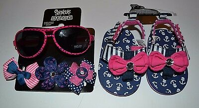 5 Pc Lot Baby Nautical Sunglasses 100% UV Pro, Hair clips Flip Flops 6-12 Months