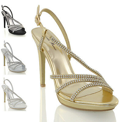 Womens Bridal Diamante Platform Heels Ladies Prom Party Evening Sandal Shoes 3-8