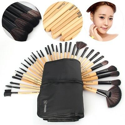 Professional 32 Piece Kabuki Make Up Brush Set and Cosmetic Brushes Case