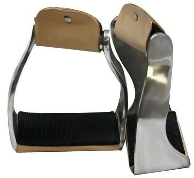 Showman Twisted Angled Aluminum Stirrups w/ Rubber Grip Tread!! NEW HORSE TACK!!