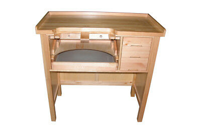 Heavy Duty Jewelers Work Bench Solid Wood Metal Work Pan 3 Drawer Jewelry Table