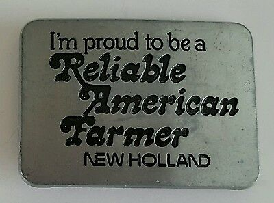 Belt Buckle Vintage 1982 New Holland Stainless Steel Reliable American Farmer